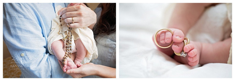newborn session with family keepsakes
